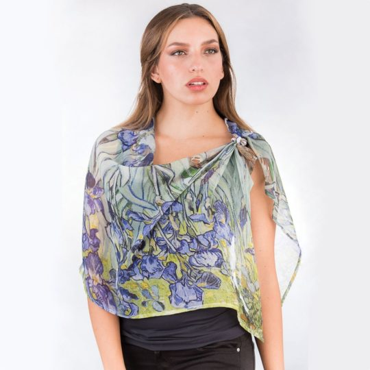 irises scarf digital print