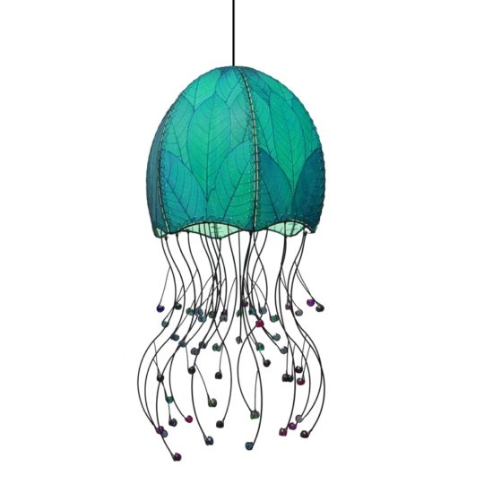 jellyfish pendant leaf lamp blue