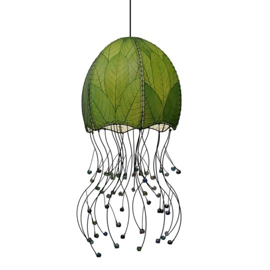 jellyfish pendant leaf lamp green