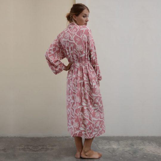 kimono robe frangipani blush