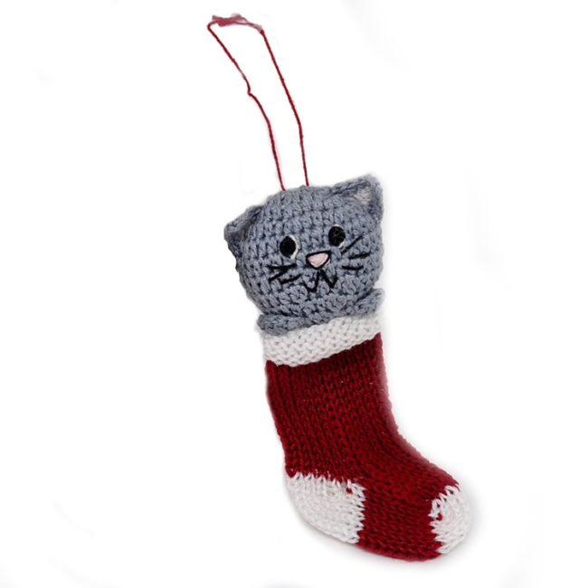 knit kitten in stocking ornament