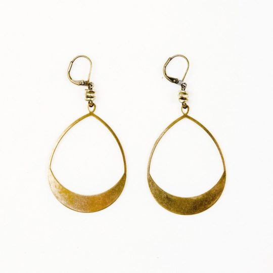 large teardrop hoop earrings brass