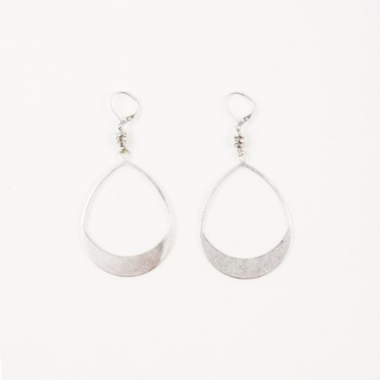 large teardrop hoop earrings silver