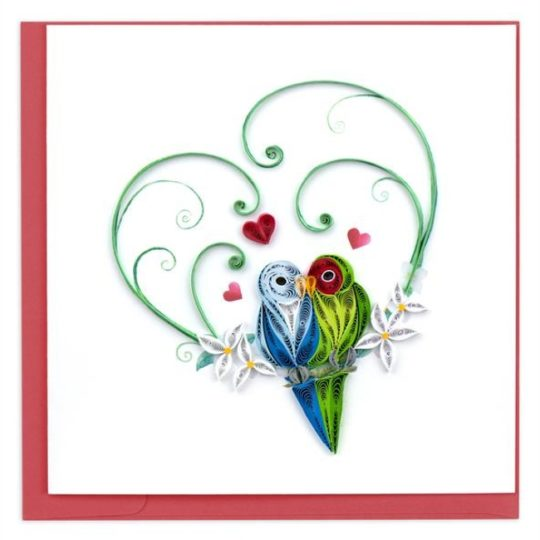 love birds quilling card new