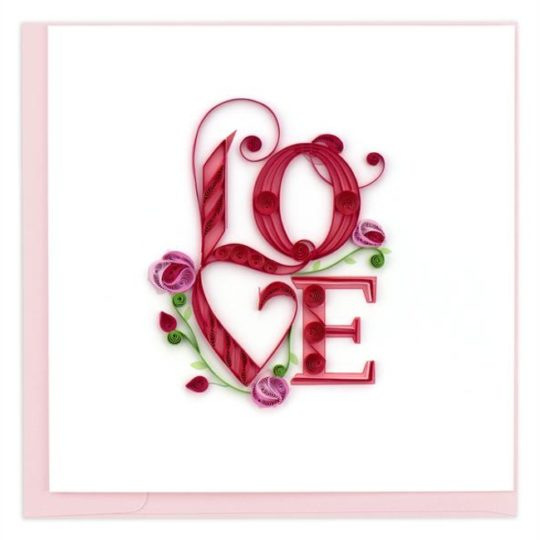 love flowers quilling card