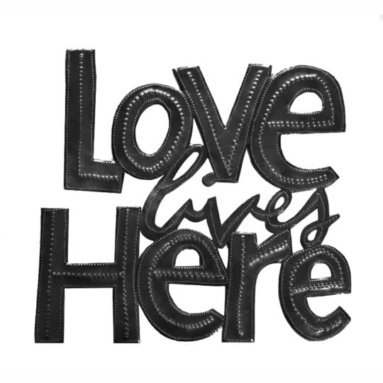 love lives here oil drum sign