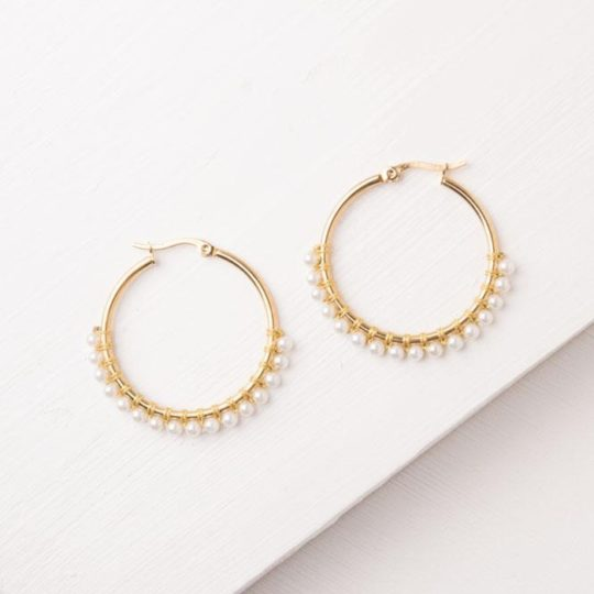 maddie gold and pearl hoop earrings