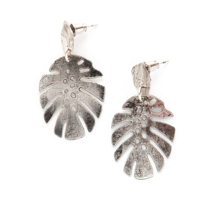 monstera stud earrings silver