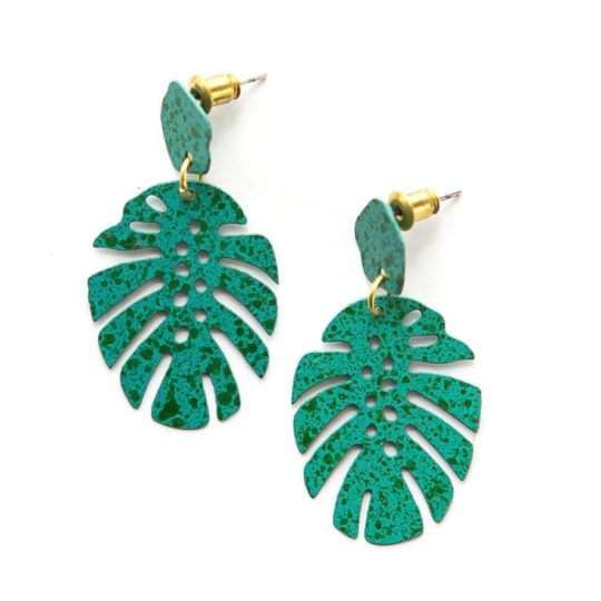 monstera stud earrings teal