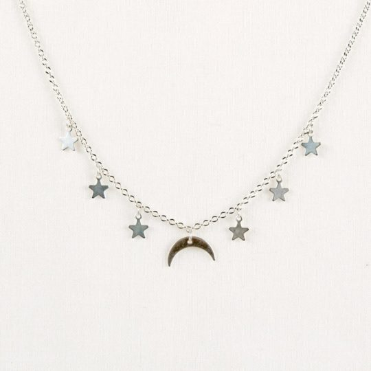 moon & stars necklace silver