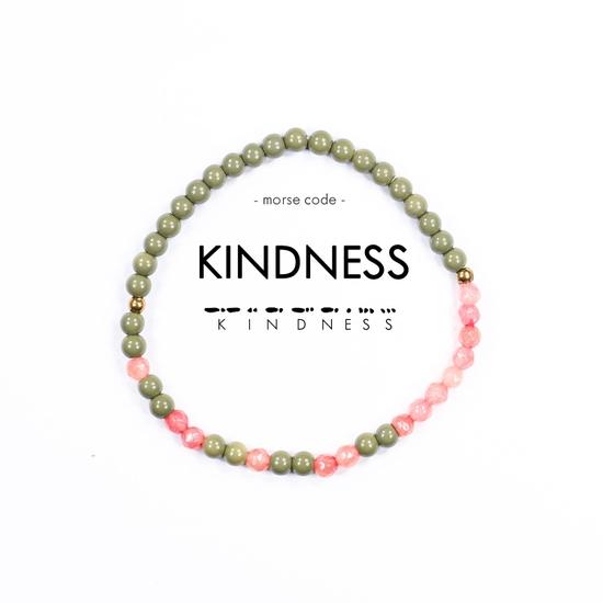 morse code bracelet kindness army green pink