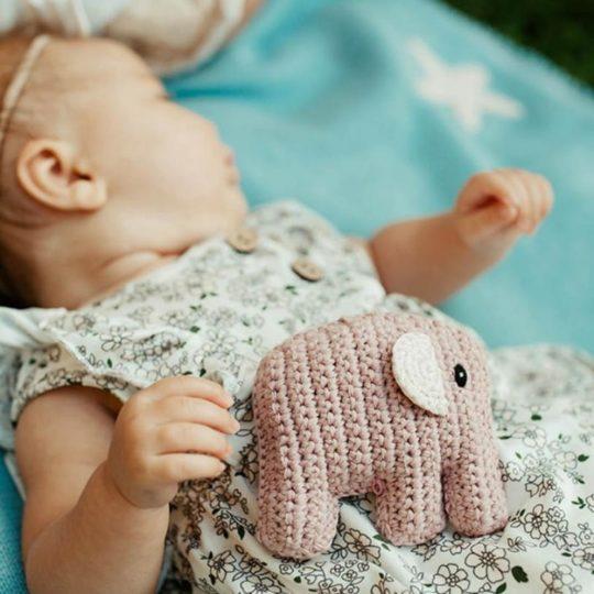organic elephant rattle pink