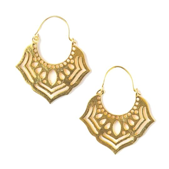 ornate orchid earrings gold