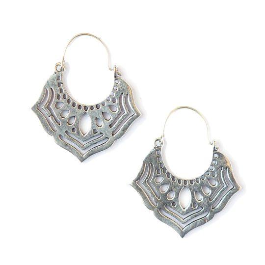 ornate orchid earrings silver