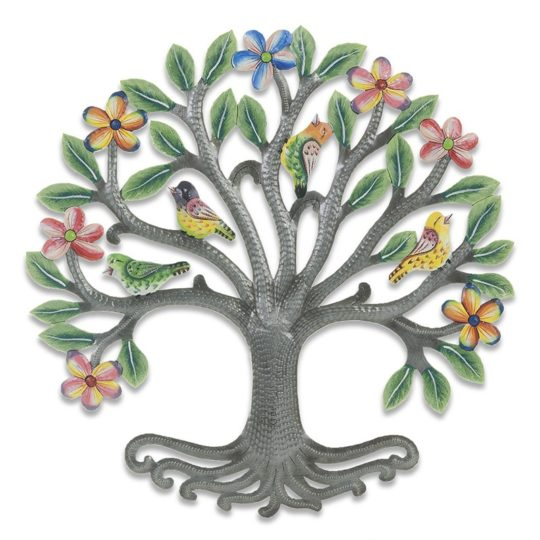 painted floral halo tree oil drum