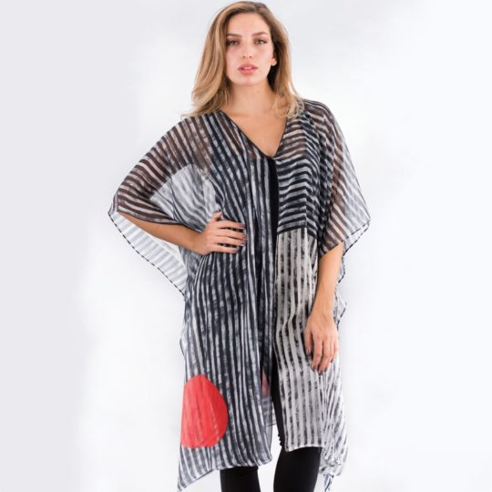parvati cotton kaftan black white