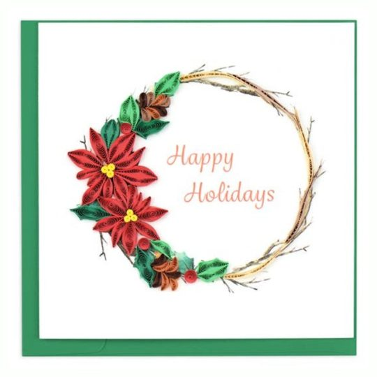 poinsettia wreath quilling card