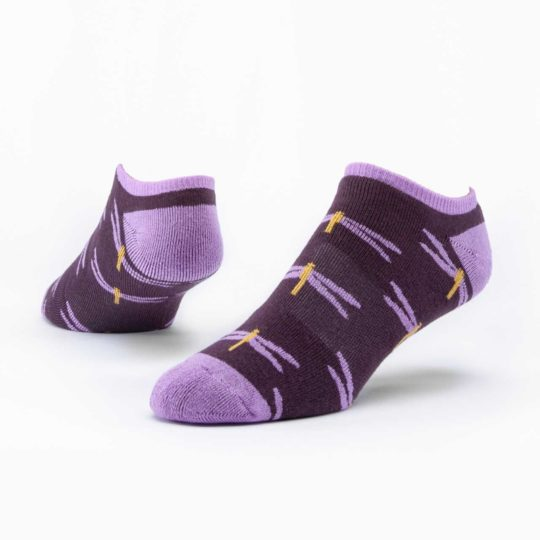 purple dragonfly footie socks