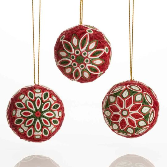 quilled christmas ball ornaments set of 3