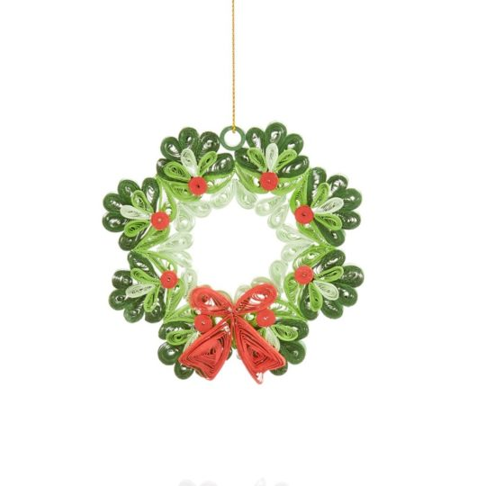 """REINDEER with Wreath Wood Hanging Christmas Ornament 5/"""" Tall x 2.5/"""" Wide"""