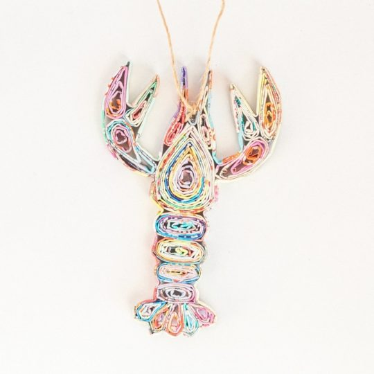 recycled paper lobster ornament