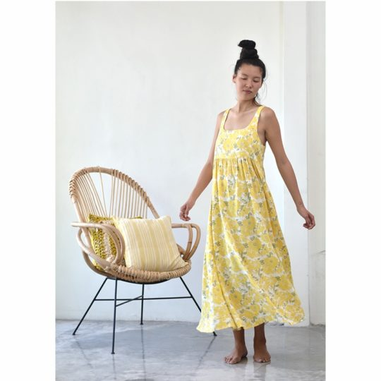 romantic dress yellow rose