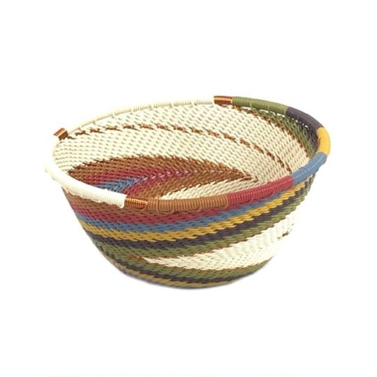small round telephone wire bowl white desert