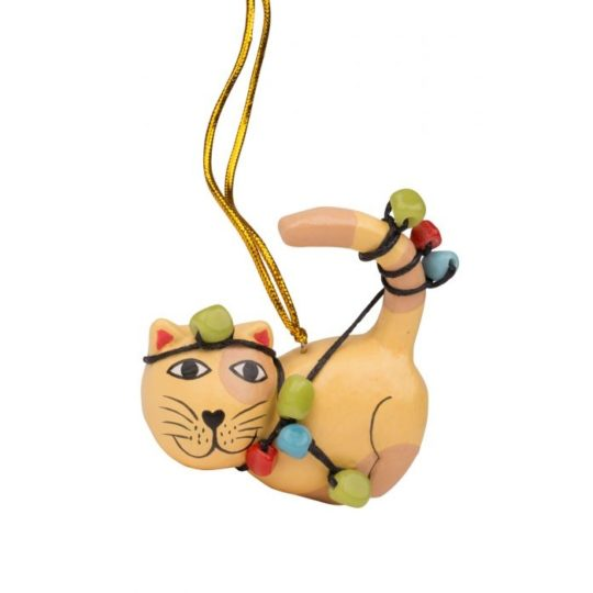 tangled lights cat ornament