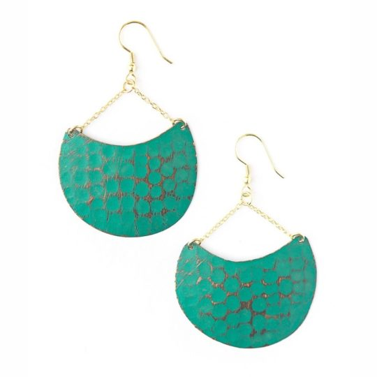 teal fan earrings