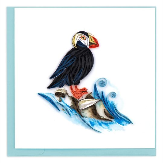 tufted puffin quilling card