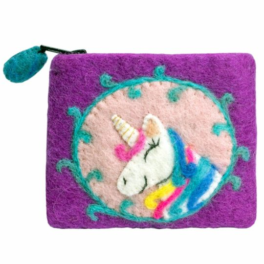 unicorn felt coin purse
