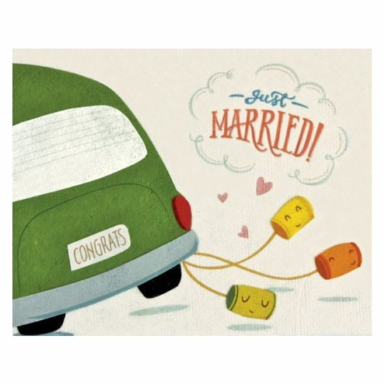 wedding cans just married card