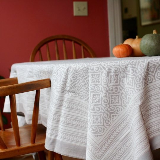 jaipur gray block print tablecloth