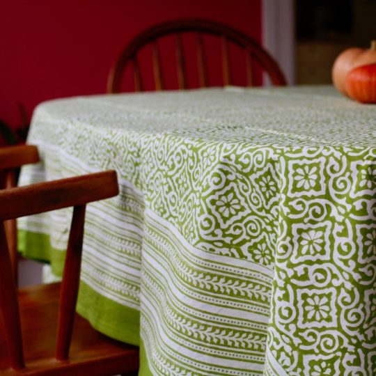jaipur green block print tablecloth