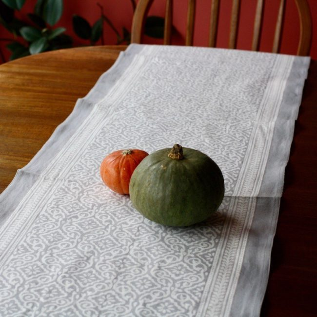 jaipur gray block print table runner