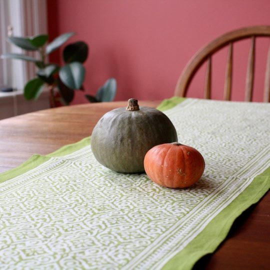 jaipur green block print table runner