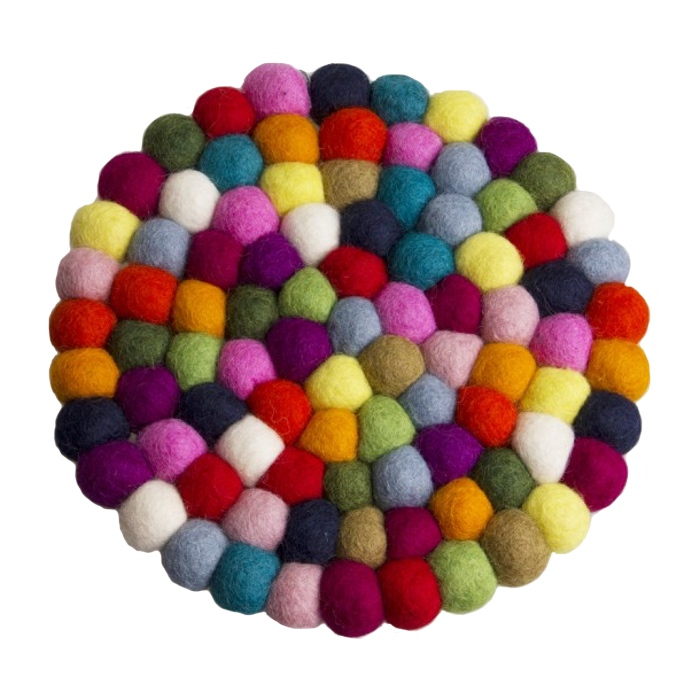multi color felt ball trivet