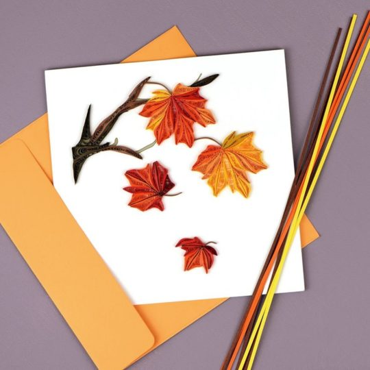 autumn leaves quilling card shot