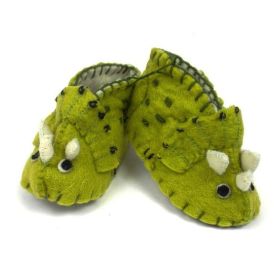 felt triceratops baby shoes