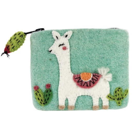 happy llama felt coin purse