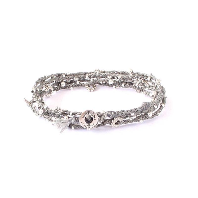 woven wrap bracelet grey