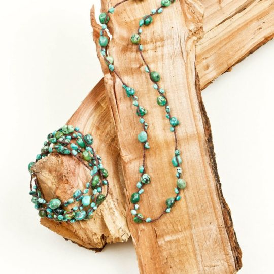 turquoise necklace leather