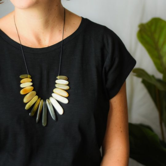 maggie's slub tee black, mila bullhorn necklace