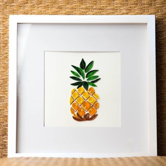 pineapple quilling card framed