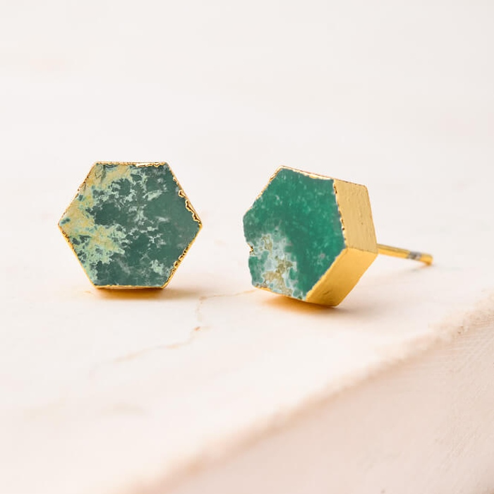 natalie hexagon earrings