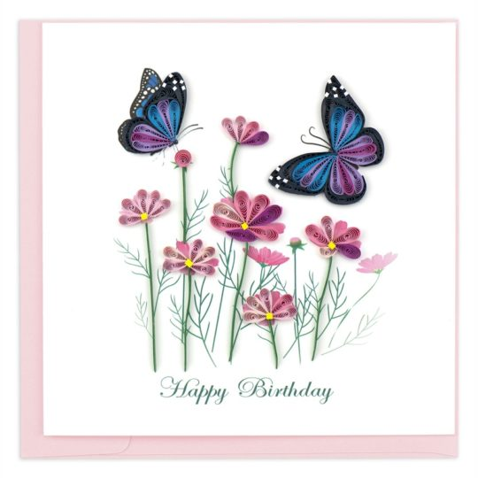 butterflies flowers birthday quilling card