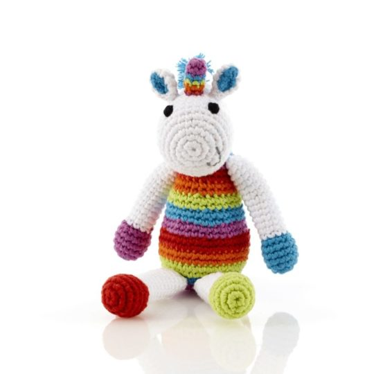 crocheted unicorn rattle