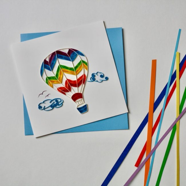 hot air balloon quilling card styled
