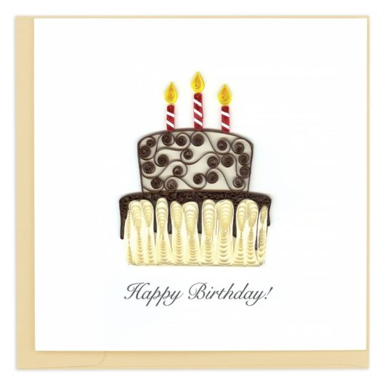 happy birthday cake quilling card