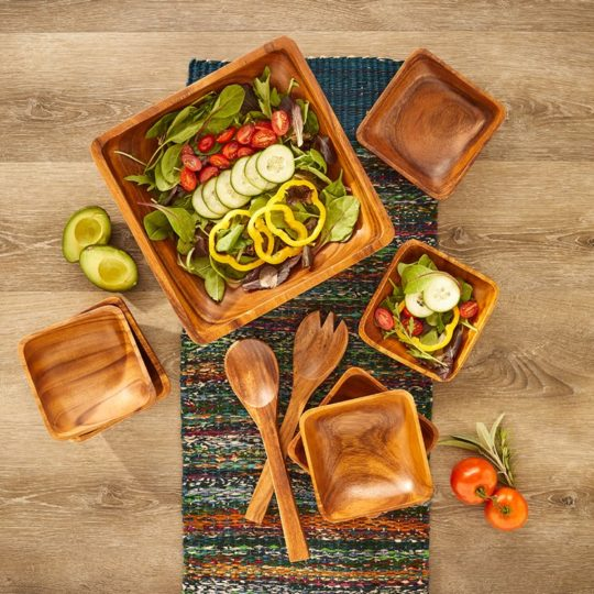 acacia wood salad set overhead